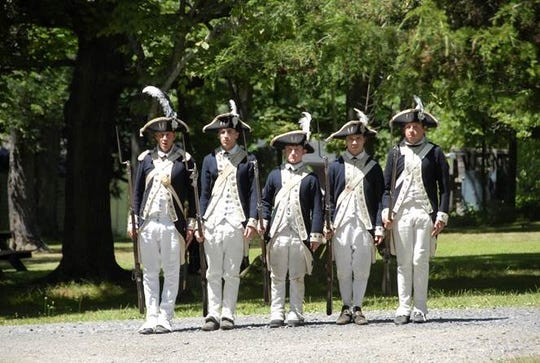 Continental Army Soldiers from the 7th Massachusetts Regiment Drill are shown on Grand Parade at the New Windsor Cantonment. The site will host a Revolutionary War camp night April 20.