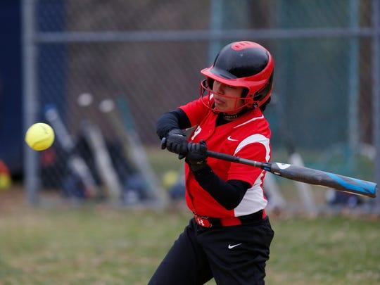 Red Hook's Lindsey Martin at bat during Thursday's game versus Highland on April 11, 2019.