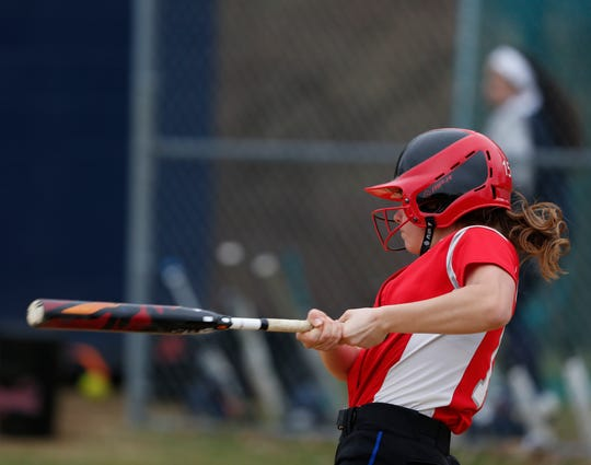 Red Hook's Alexis Murphy at bat during Thursday's game versus Highland on April 11, 2019.