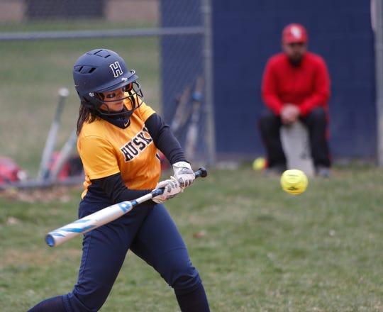 Highland's Gillian Dwyer at bat during Thursday's game versus Red Hook on April 11, 2019.