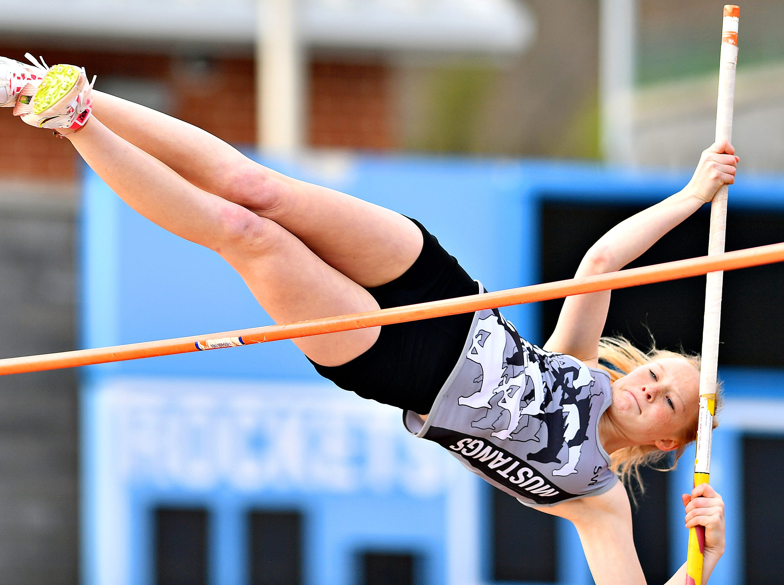 South Western's Alexandra Ice competes in Pole Vaulting during track & field action against Spring Grove in Jackson Township, Thursday, April 11, 2019. Dawn J. Sagert photo