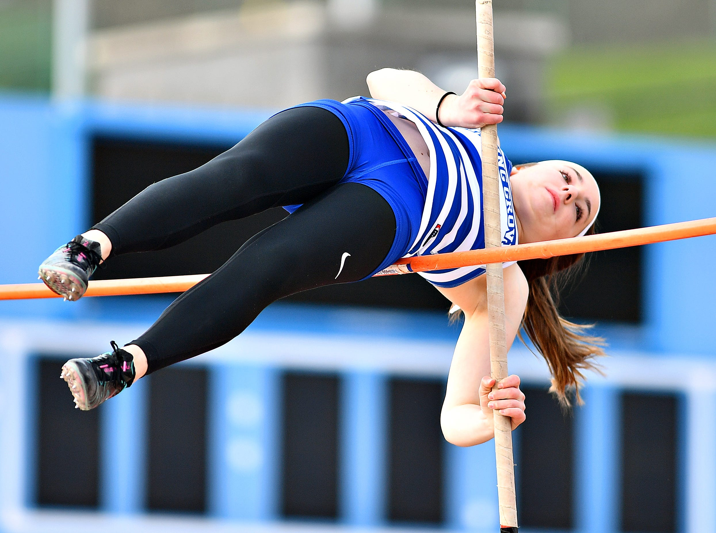Spring Grove's Kasey Smith competes in Pole Vaulting during track & field action against South Western in Jackson Township, Thursday, April 11, 2019. Dawn J. Sagert photo