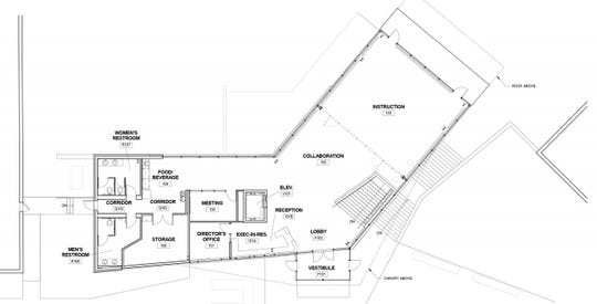 First floor plan for the Graham Center for Innovation and Collaboration, a new location for the Graham Fellows program expected to be complete by the summer of 2020. The project will break ground at Penn State York campus Wednesday, April 17.
