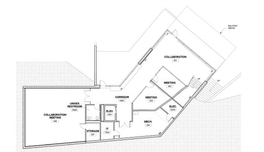 Lower floor plan for the Graham Center for Innovation and Collaboration, a new location for the Graham Fellows program expected to be complete by the summer of 2020. The project will break ground at Penn State York's campus Wednesday, April 17.