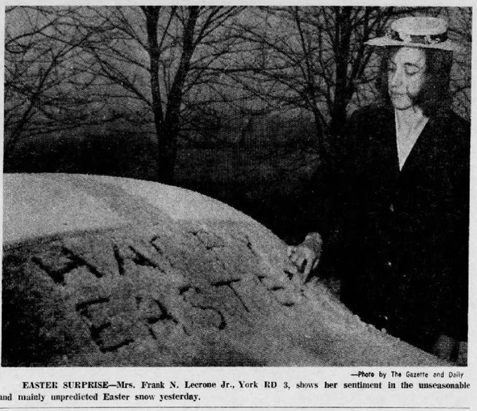 It snowed on Easter, 1970, as seen in this Gazette and Daily photo.