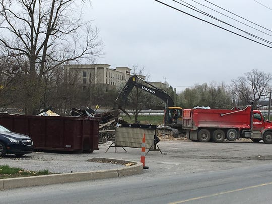 Crews worked on Friday morning to clean up the site.