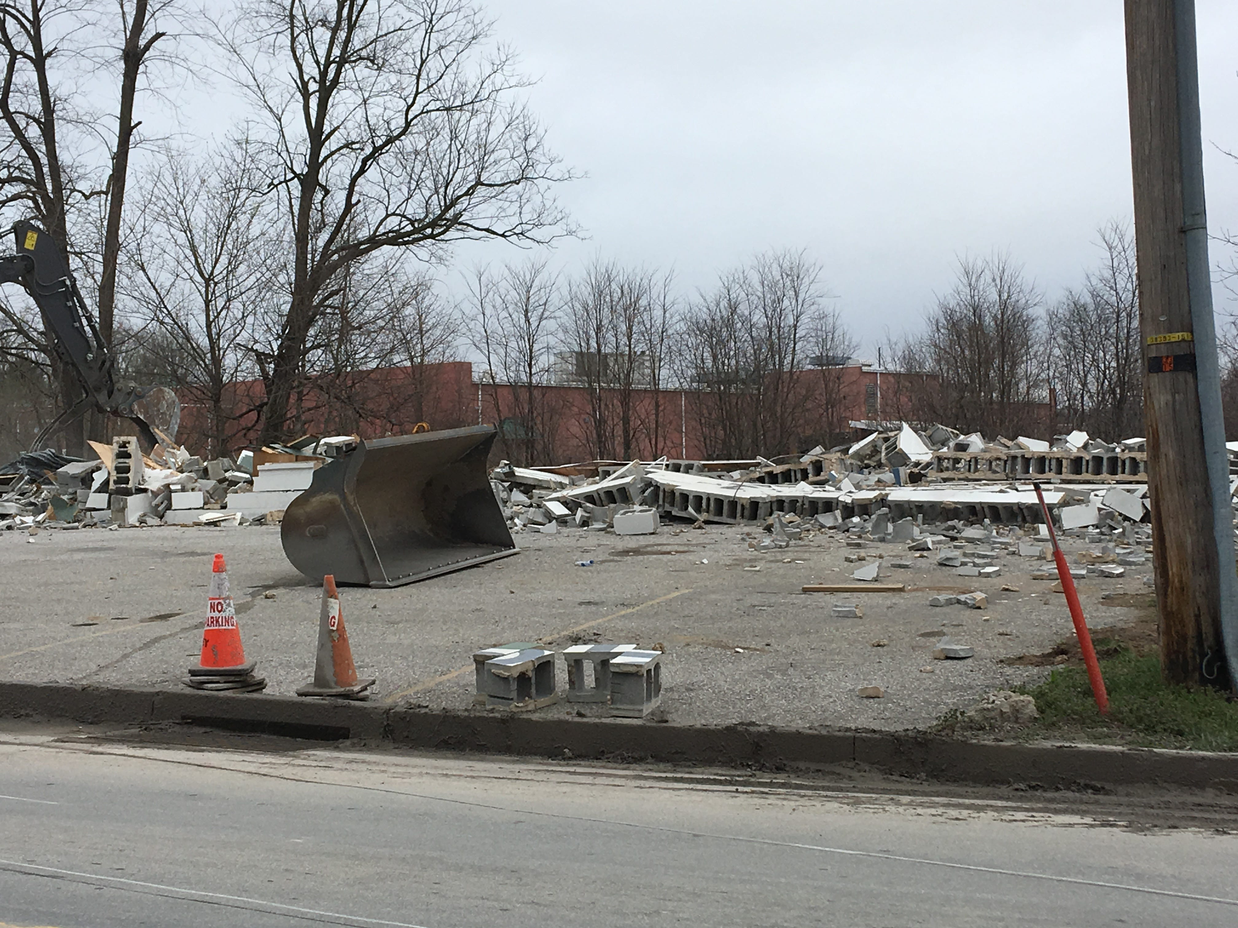 A look at the rubble left from the demolition.