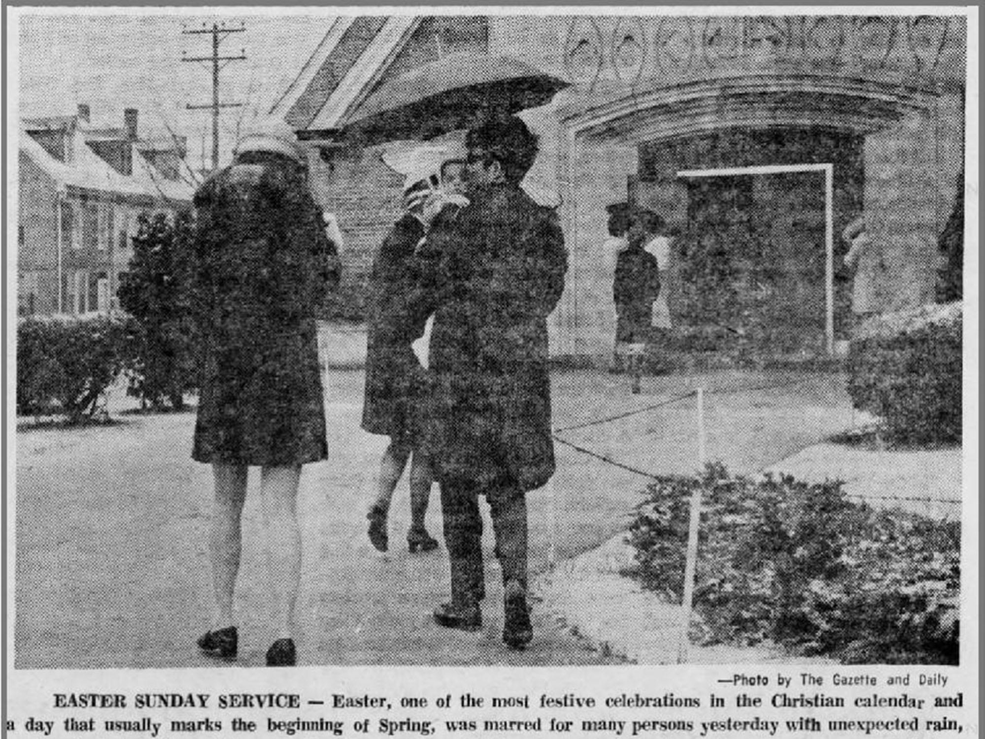 A snowy Easter in 1970 as seen in the Gazette and Daily.