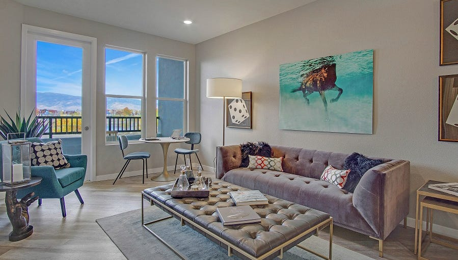 The one-bedroom, one-bath Catalina model at Waterfront at the Marina Apartments in Sparks measures about 714 square feet and rents for $1,399 to $1,960 a month, depending on location in the building.