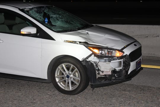 A photo showing the front end of a car that was involved in a fatal crash on Interstate 580. The crash, which occurred on April 6, 2019, led to the death of 61-year-old Reno resident Francisco Javier Perez Tolentino.