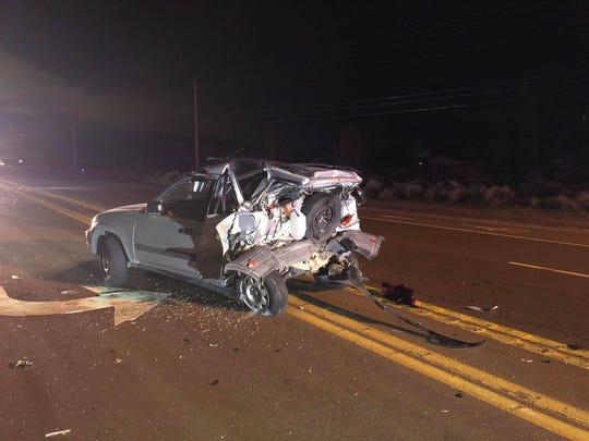 A photo showing the back of a blue Honda SUV involved in a hit-and-run crash on Pyramid Highway in Sparks. The crash was reported during the morning hours of Friday, April 12, 2019.