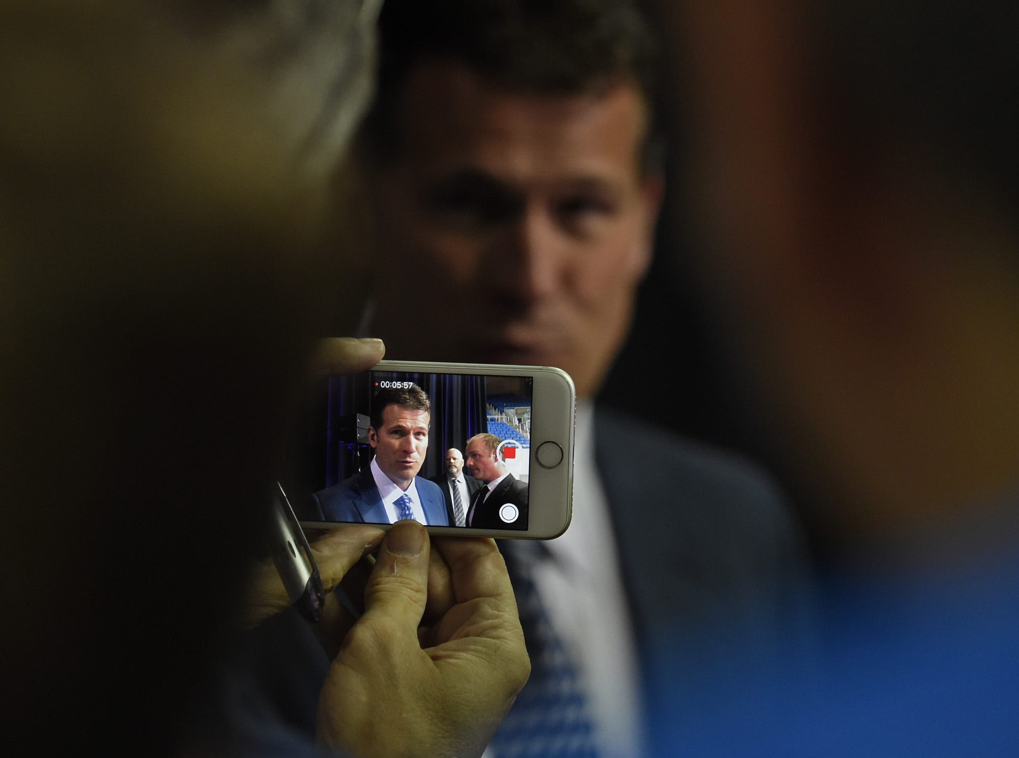 Steve Alford speaks to the media after being introduced as the new Nevada basketball coach during a press conference at Lawlor Events Center in Reno, Nevada on April 12, 2019.