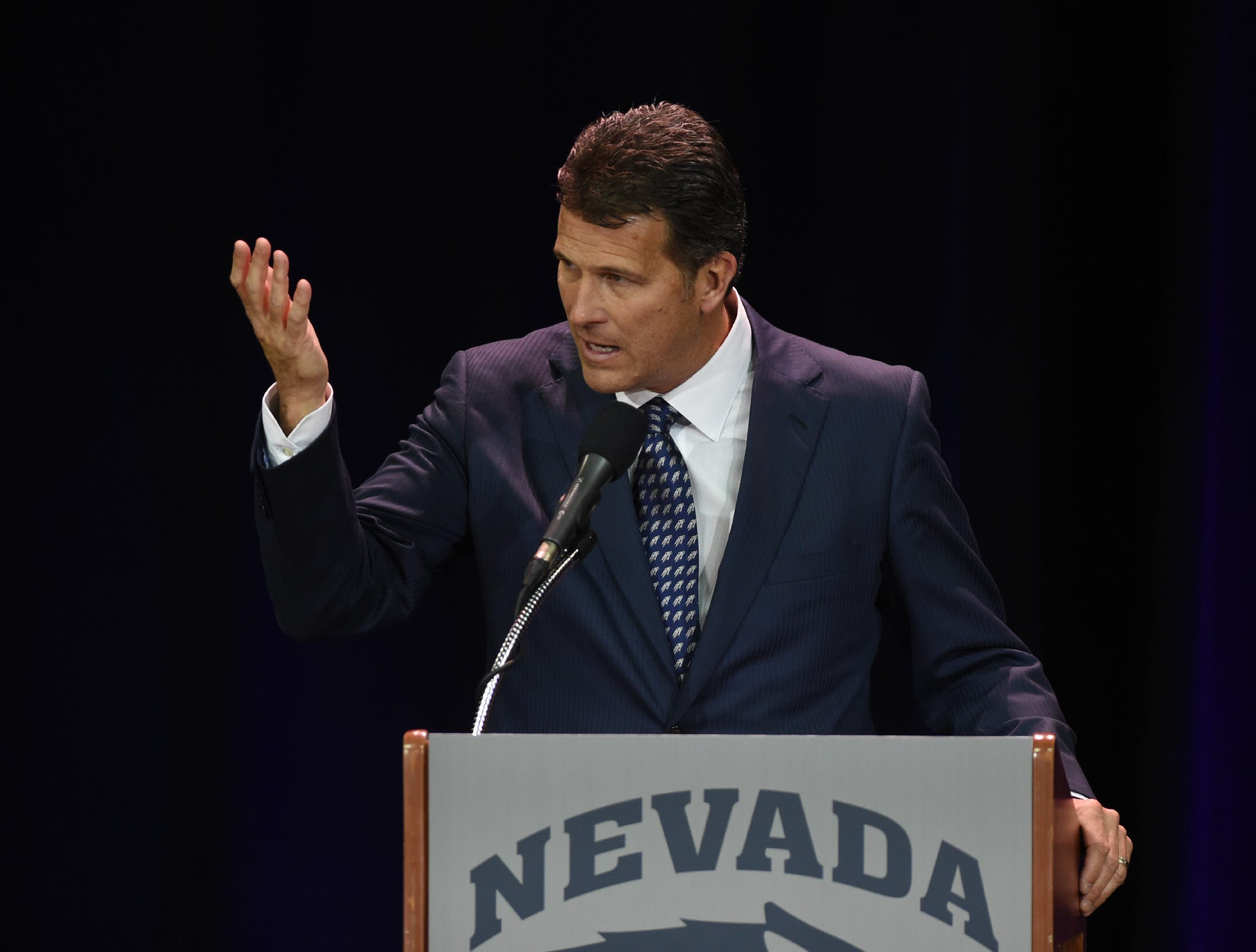 Steve Alford speaks after being introduced as the new Nevada basketball coach during a press conference at Lawlor Events Center in Reno, Nevada on April 12, 2019.