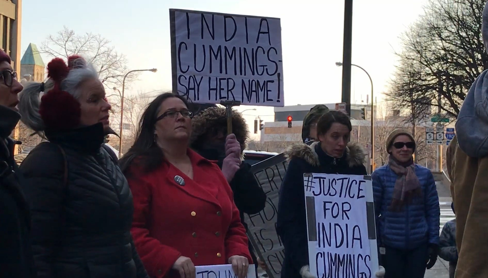 Protesters stand outside the Erie County Holding Center on Feb. 21, 2019.