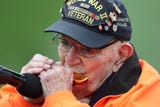 """""""Harmonica Pete"""" DuPre, now 95, ushers in the Rochester Red Wings 2019 season."""