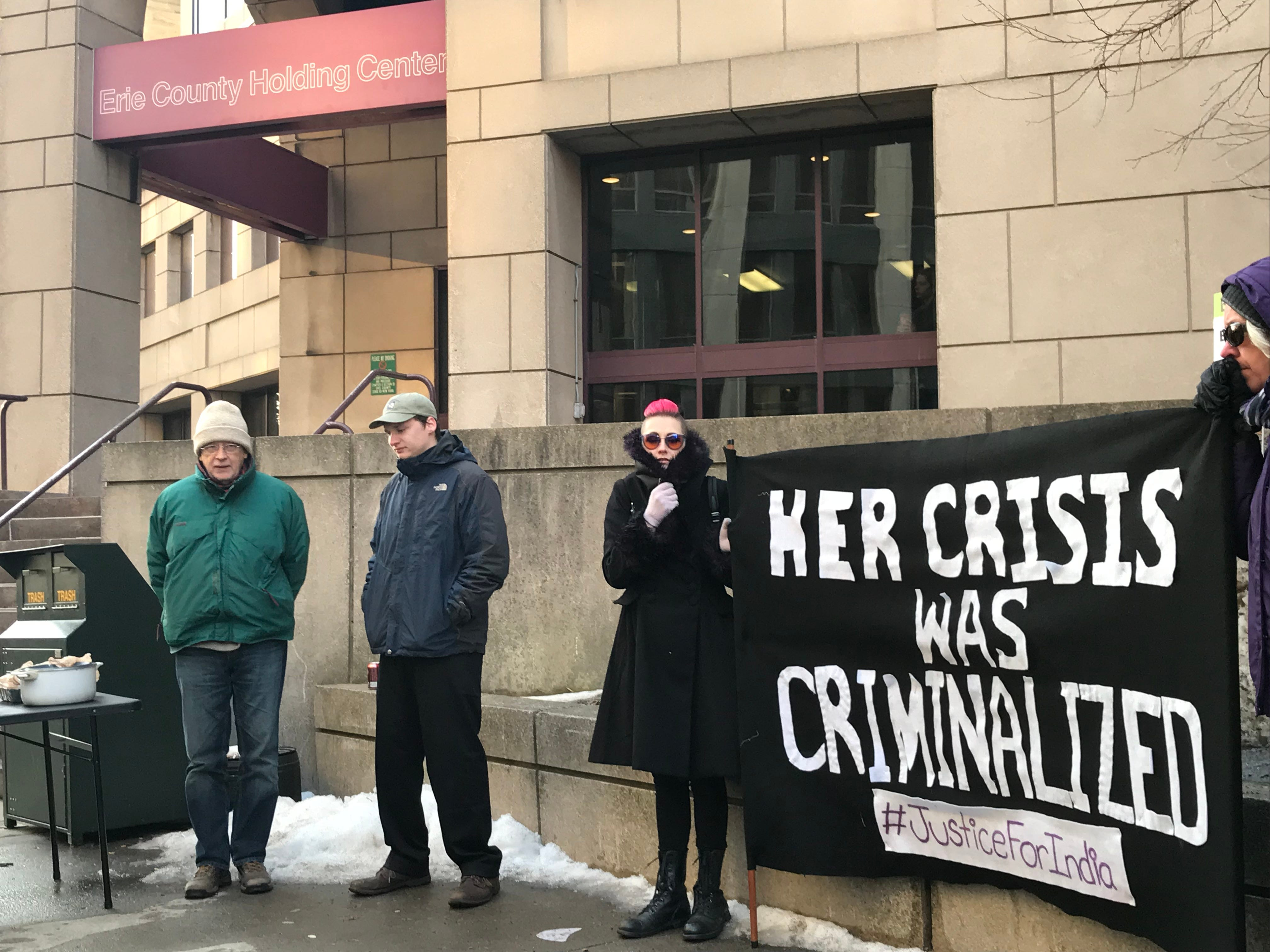 Protesters rally in front of the Erie County Medical Center on Feb. 21, 2019 in honor of India Cummings.