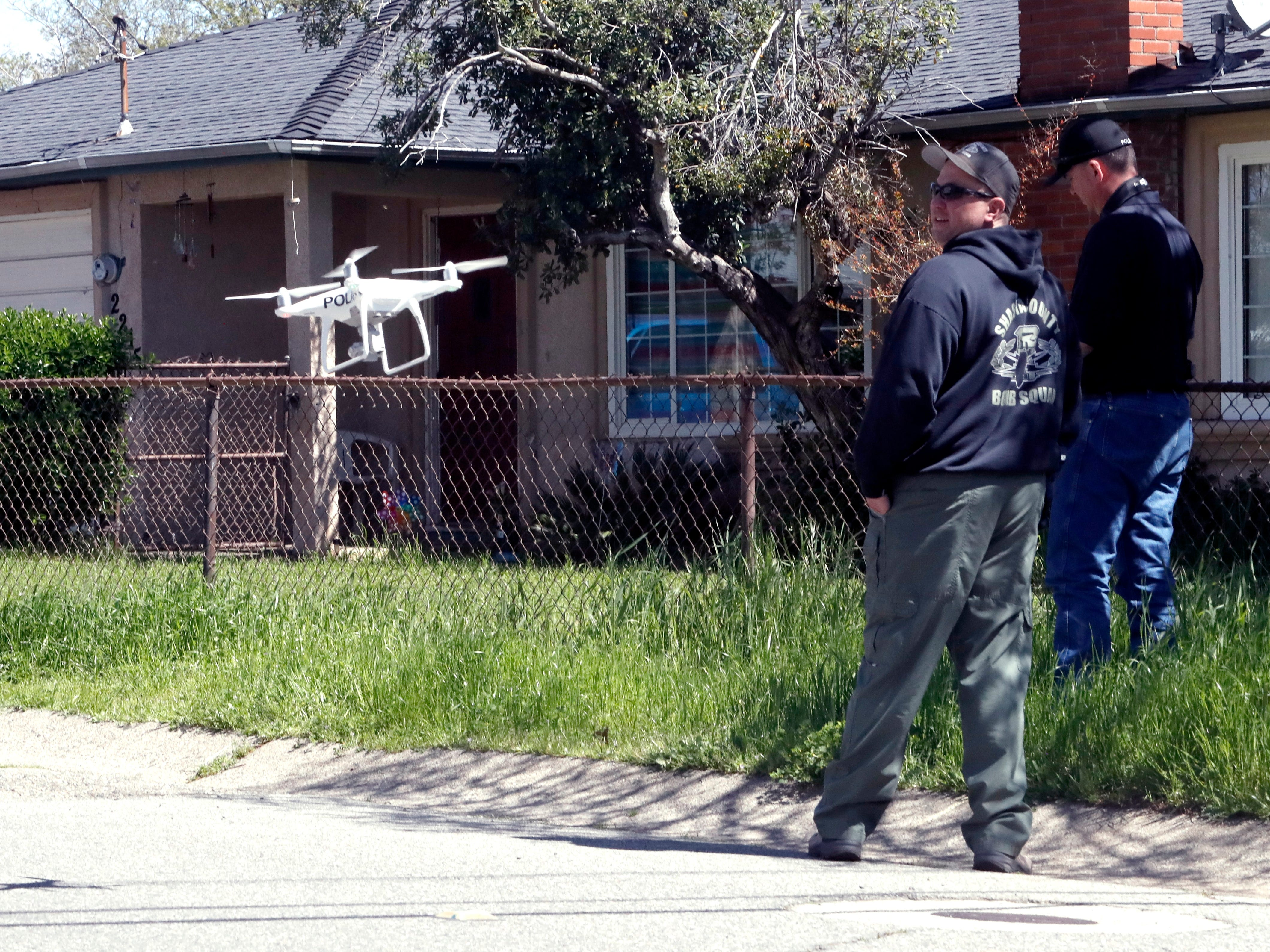 Redding police used two drones to check out the 2100 block of Oxford Road on Friday where a man fire a gun inside a residence.