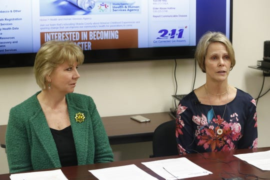 Shasta County Public Health Director Terri Fields Hosler, left, and County Health Officer Dr. Karen Ramstrom answer reporters' questions Thursday, April 11, 2019, involving a second person treated for measles in the county.