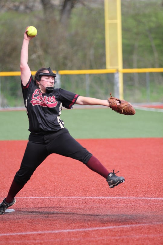 West Valley pitcher Kadie Russell throws a pitch against Yreka on Wednesday, April 3, 2019.