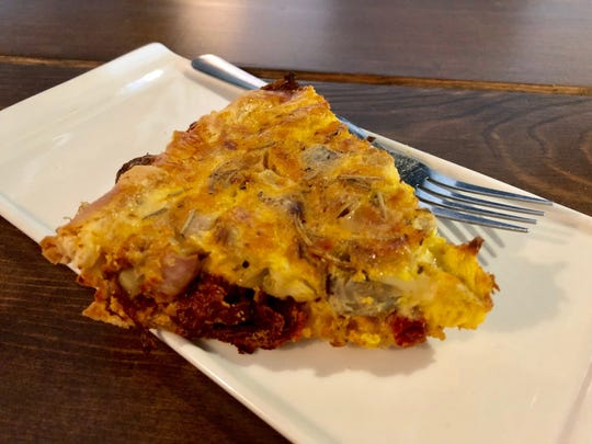 The popular veggie quiche at the Stirring Coffeehouse.