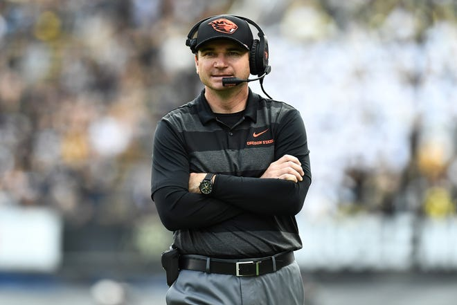 Oregon State Beavers head coach Jonathan Smith looks on during the second half against the Colorado Buffaloes at Folsom Field. Mandatory Credit: Ron Chenoy-USA TODAY Sports
