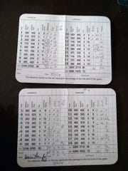 Ellie Slama's scorecard during her practice round at Augusta National last week.
