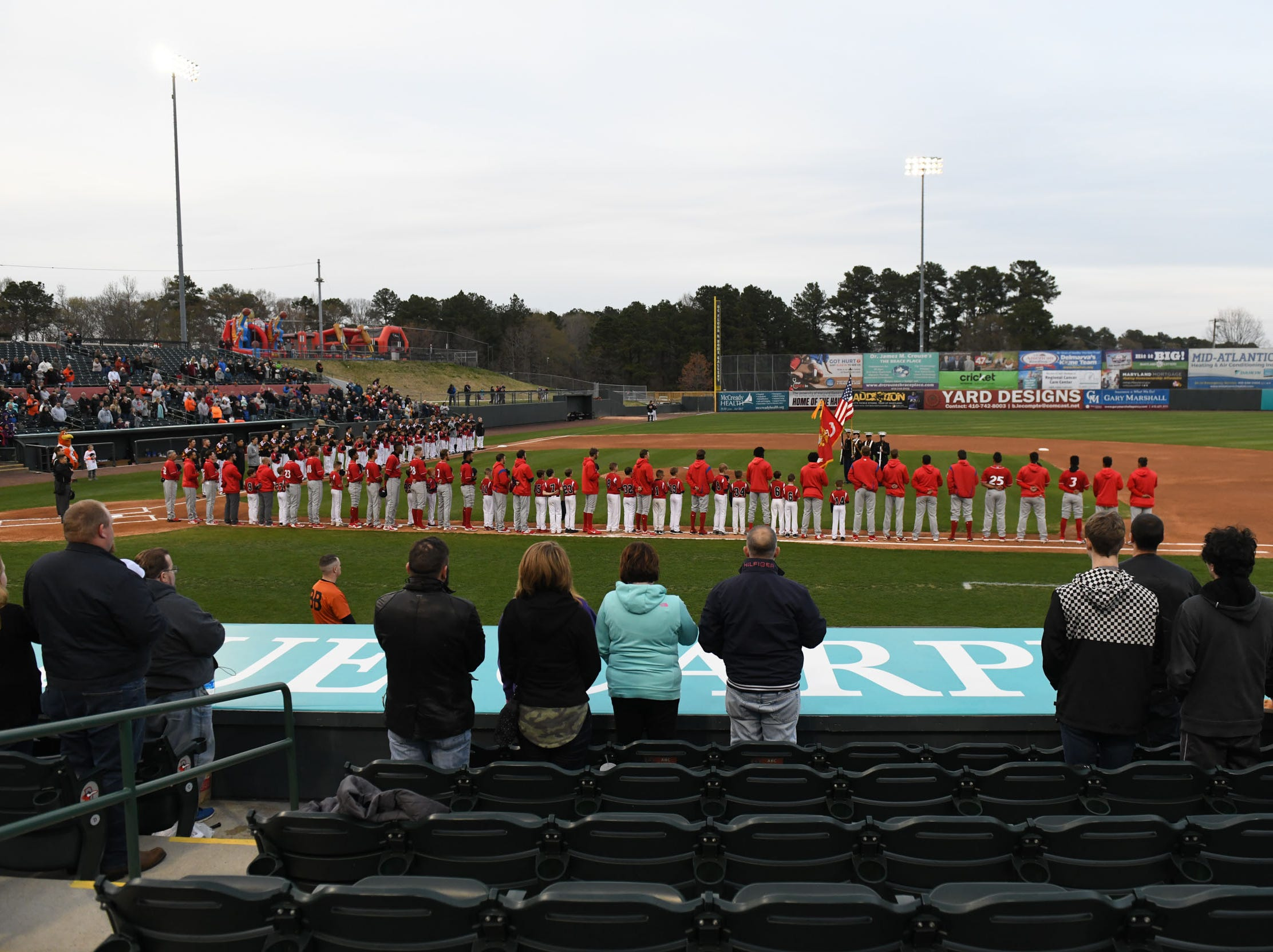 Opening night at the Delmarva Shorebirds against the Wilmington Blue Claws on Thursday, April 11, 2019.