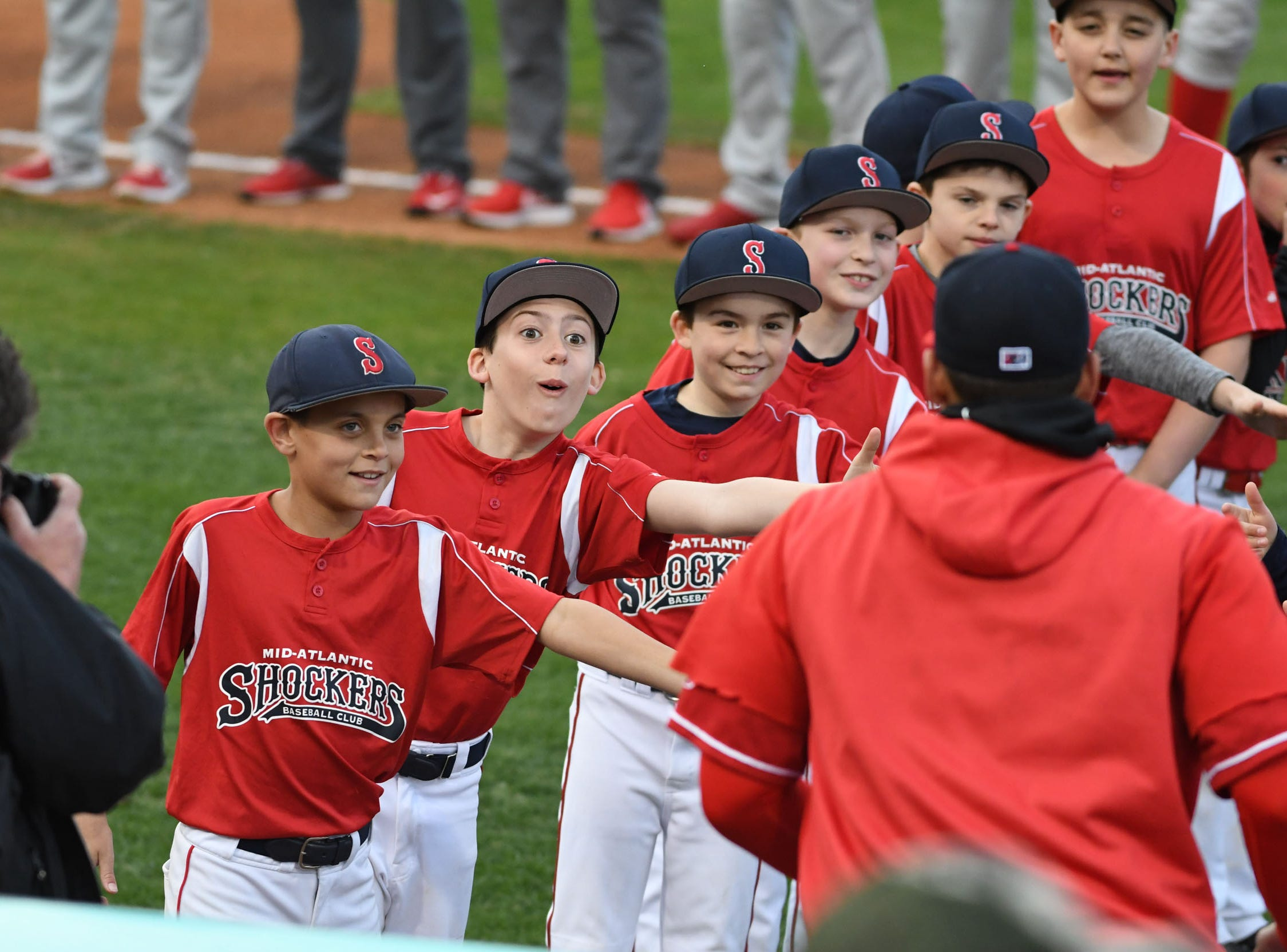 The Mid-Atlantic Shockers Baseball Club helped in welcoming the players during Opening Night at the Shorebirds on Thursday, April 11, 2019.