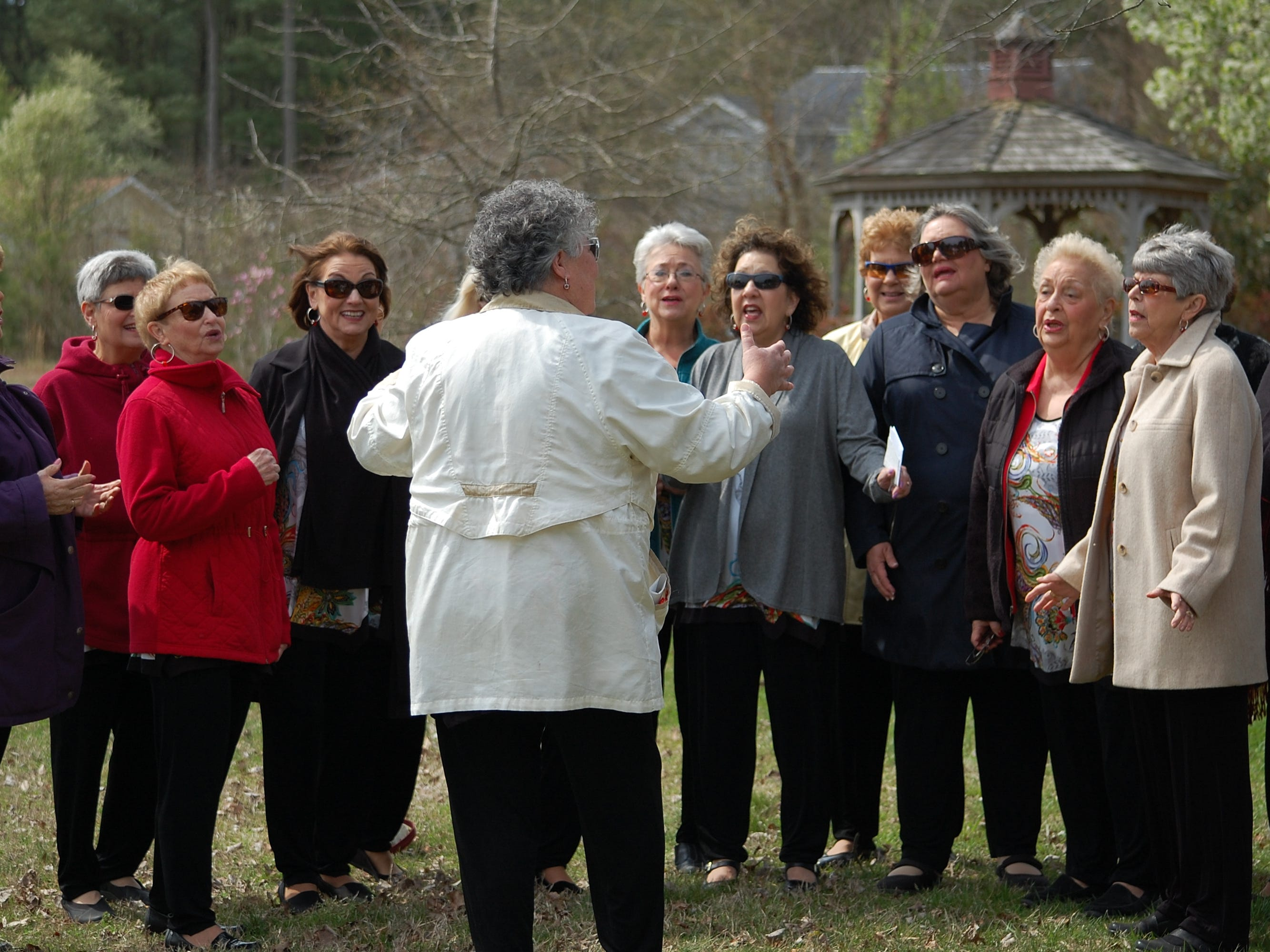 The Delmarva Chorus, under the direction of Carol Ludwig, sings at the Arbor Day memorial ceremony held April 11 at Pintail Park in Ocean Pines. The Ocean Pines Garden Club hosted the annual ceremony during which a tree was planted in memory of loved ones who passed away in 2018.