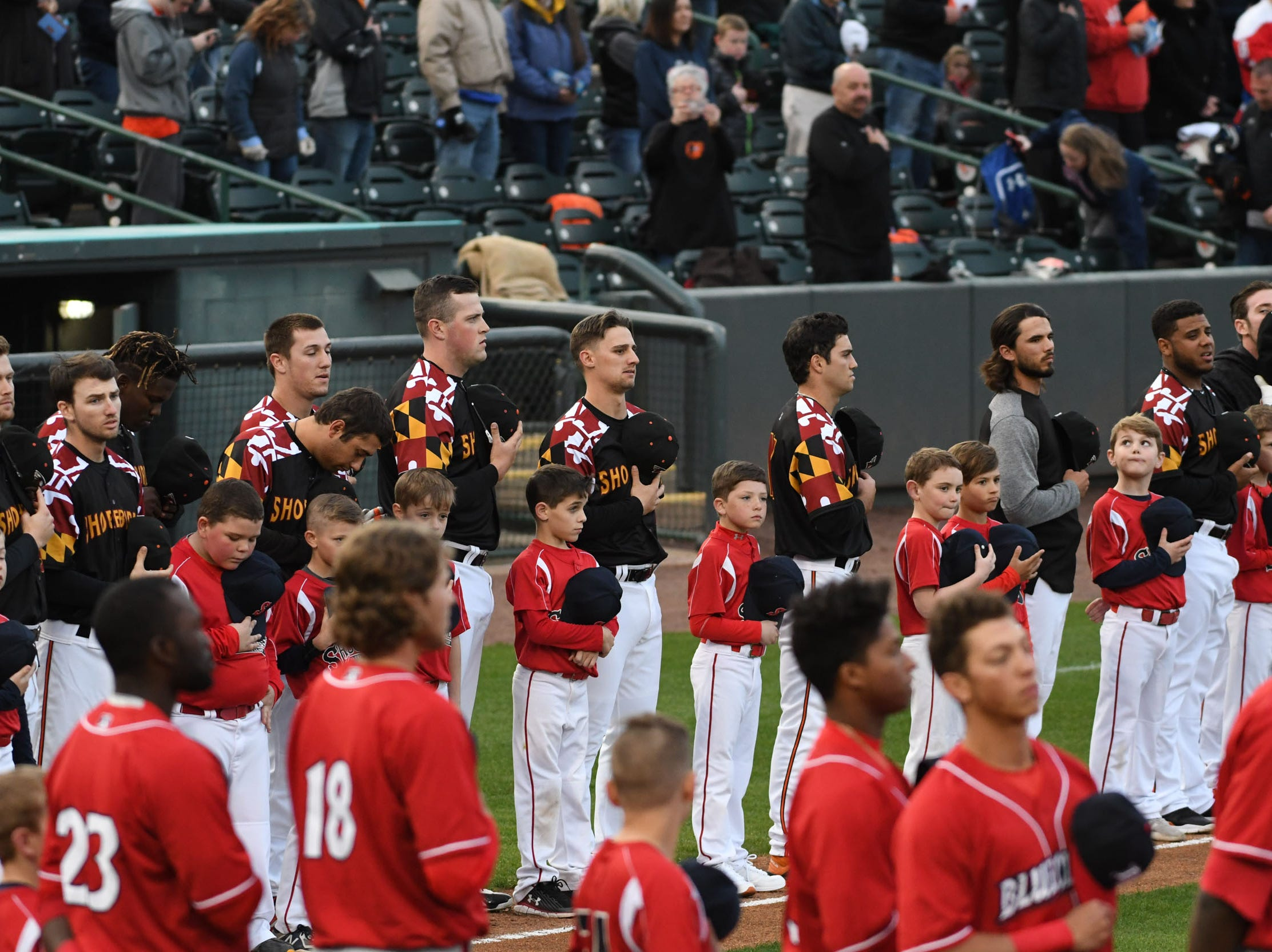 The Mid-Atlantic Shockers Baseball Club participated during Opening Night at the Shorebirds on Thursday, April 11, 2019.