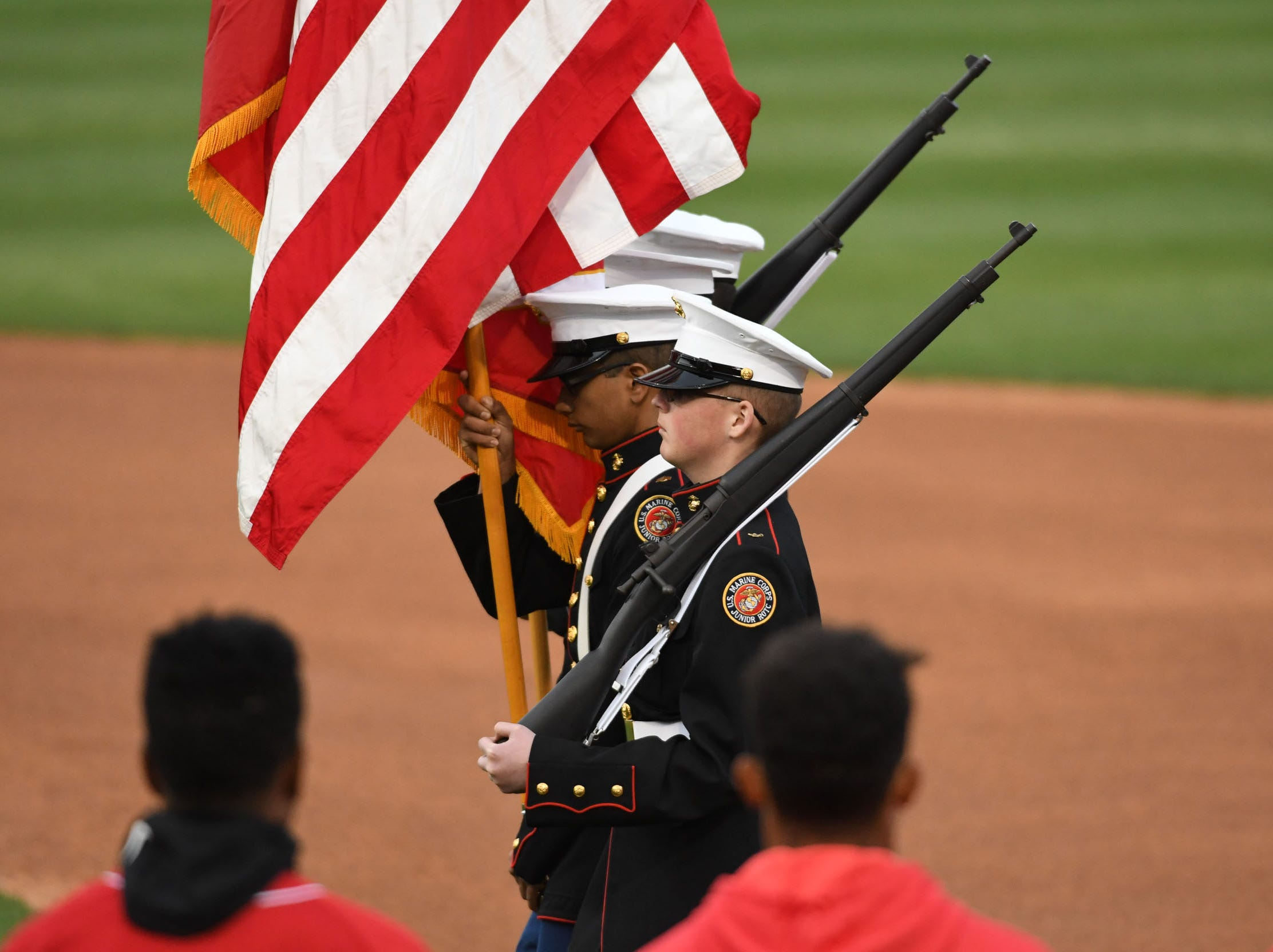 The Pocomoke MCJROTC presented the colors during opening night at the Shorebirds on Thursday, April 11, 2019.