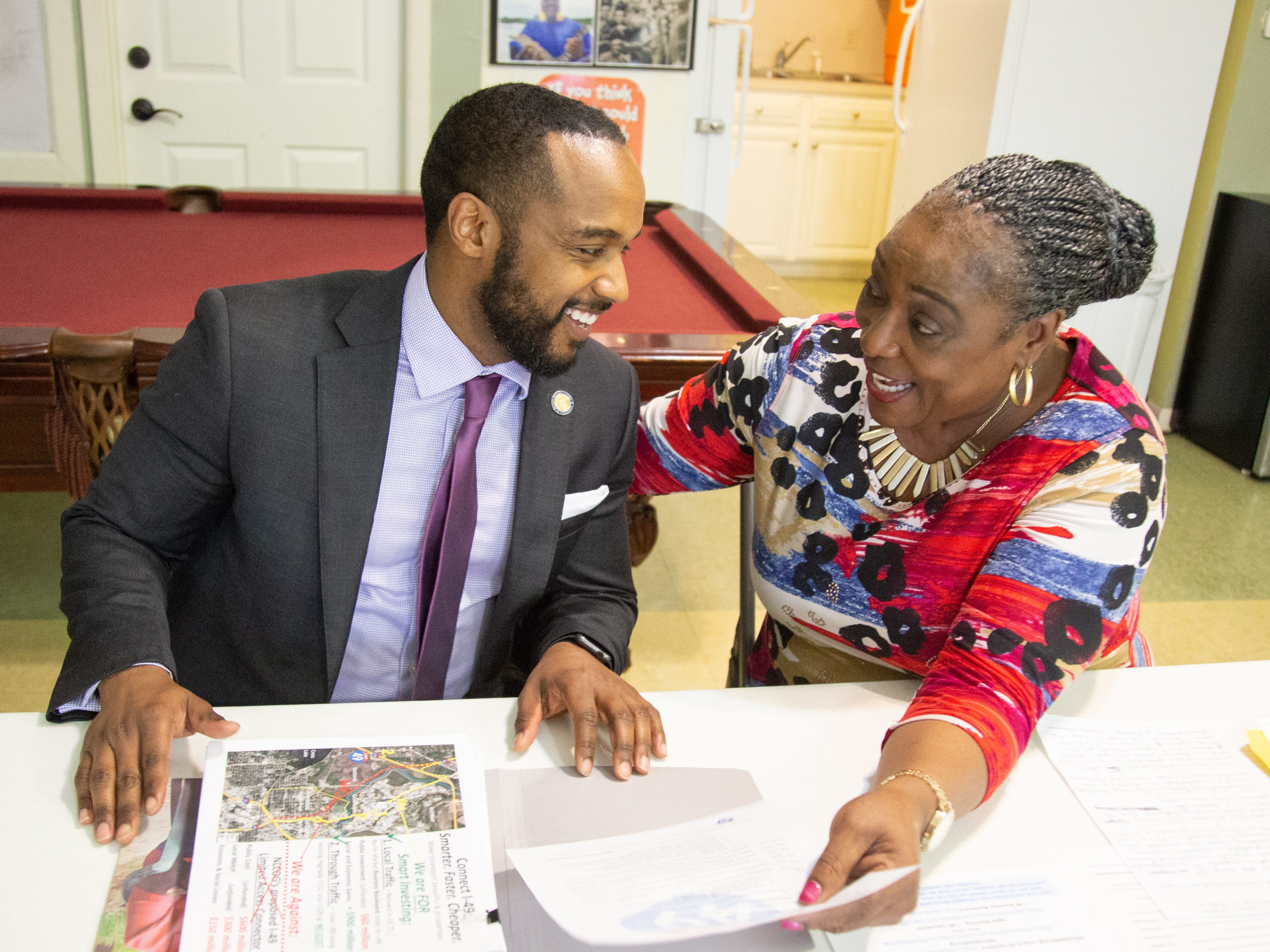 Mayor Adrian Perkins and Dorothy Wiley talk at the Allendale Strong meeting Thursday evening April 11, 2019.
