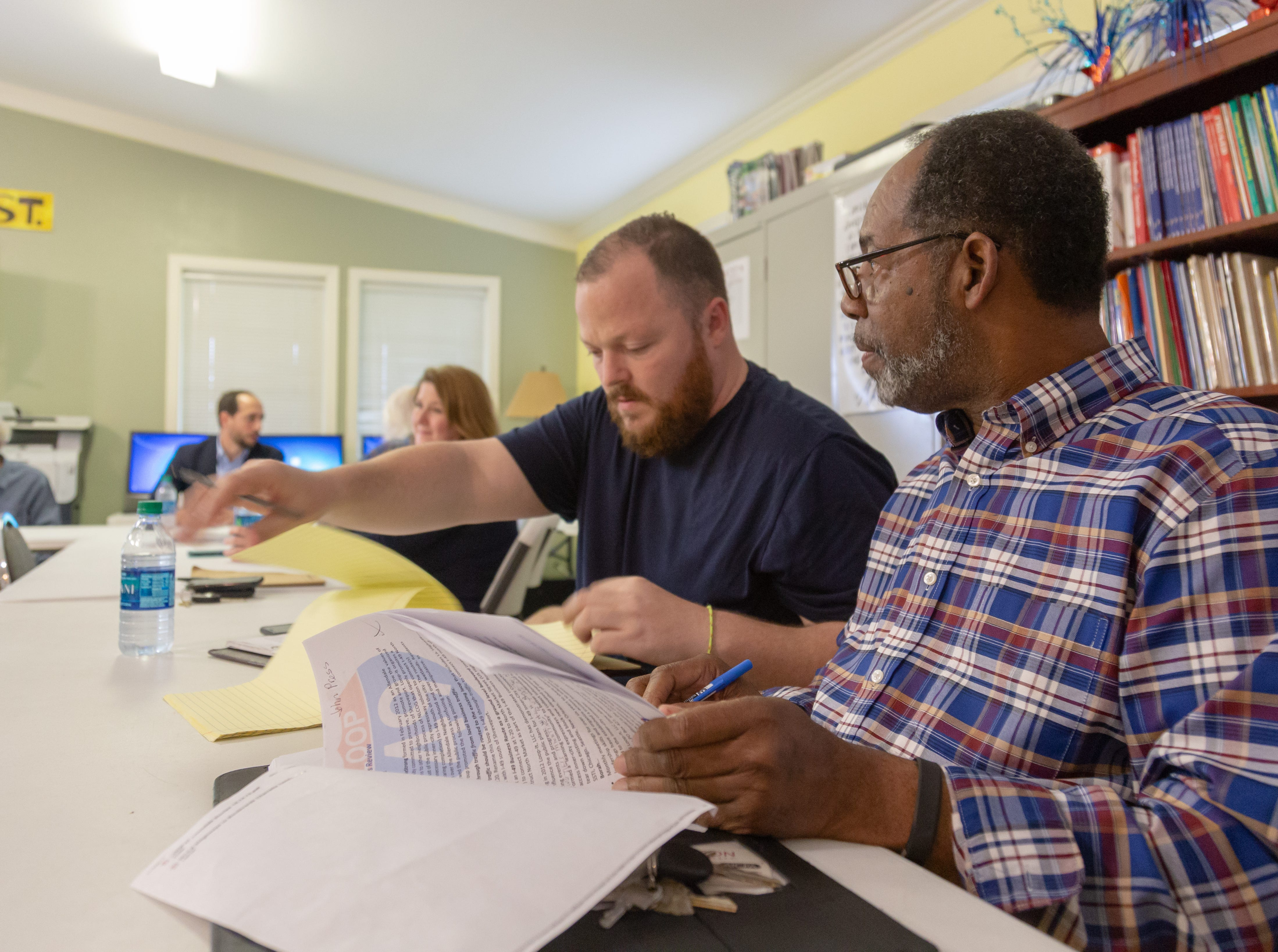 """""""Allendale Strong,"""" a group of activists that have protested a highway expansion plan for years, met with lawyers and the Mayor Perkins to discuss the project which is in last stages of decision-making process Thursday evening April 11, 2019."""
