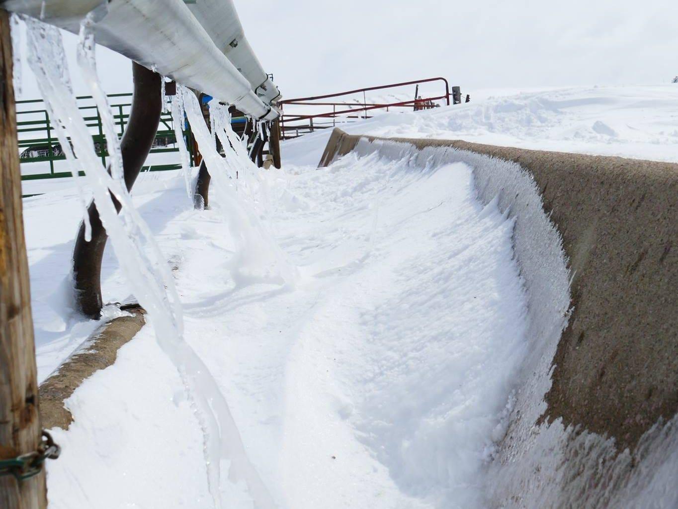 Snow and ice north of Winner.