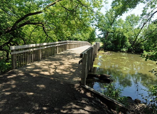 Wooden bridge that leads to more hiking trails at the Outdoor Campus in 2011.
