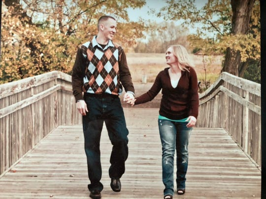 Chase and Ashley Walder took their engagement photos on The Outdoor Campus bridge.