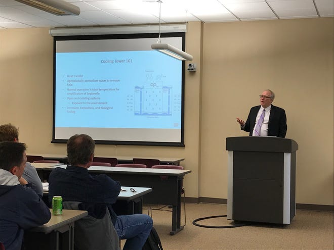 ChrisBoyd, the manager of building water health program for NSF International,leads a workshop for professionals on how to prevent a Legionella outbreak at the Sioux Falls Health Department Wednesday, April 10.