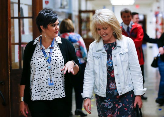 Missouri Commissioner of Education Margie Vandeven (right) talks with Missy Riley while on a tour of Campbell Early Childhood Center on Friday, April 12, 2019.