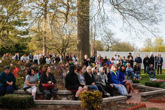 A large crowd attended the Victims Memorial Garden Brick Dedication on Thursday, April 11, 2019.