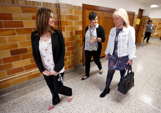 Missouri Commissioner of Education Margie Vandeven (right) talks with Missy Riley (center) and Principal Tammy Flowers while on a tour of Campbell Early Childhood Center on Friday, April 12, 2019.