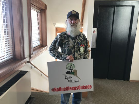 Eden Village resident Gil Rife came to the Planning and Zoning Commission meeting Thursday night. Rife was chronically homeless before moving into Eden Village a few months ago.