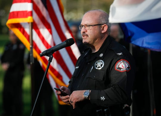 Greene County Sheriff Jim Arnott speaks during the Victims Memorial Garden Brick Dedication on Thursday, April 11, 2019.