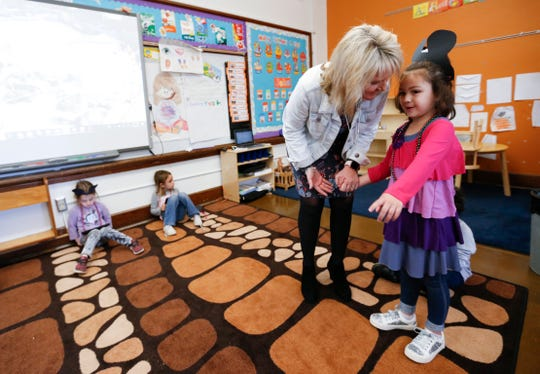 Missouri Commissioner of Education Margie Vandeven talks with a student at Campbell Early Childhood Center on Friday, April 12, 2019.