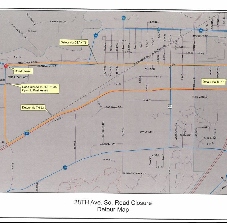 County Road 75 will have further lane closures Monday