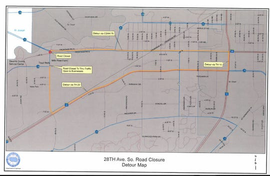 Detour map for 28th Avenue South closure.