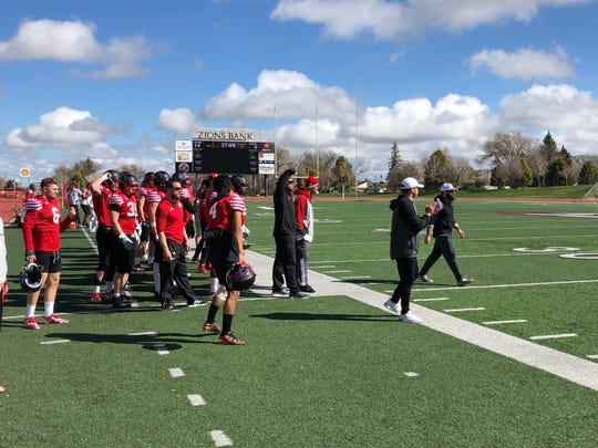 The T-Bird defense watches a situational drill during spring practice on April 7, 2019.