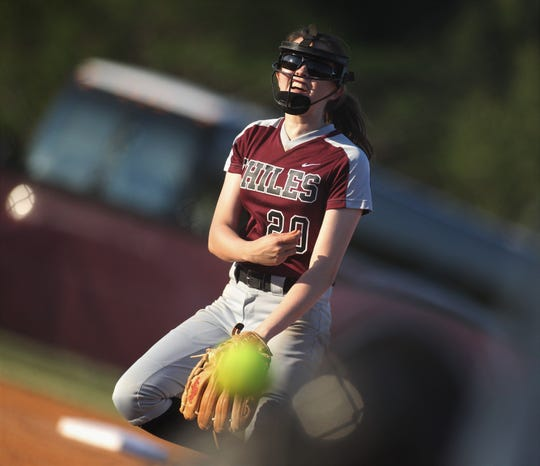 Chiles senior Dani Bauer pitches as Chiles won 6-1 against visiting Franklin County on Wednesday, April 10, 2019.