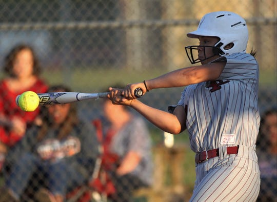 Franklin County freshman Brooklyn O'Neal bats as Chiles won 6-1 against visiting Franklin County on Wednesday, April 10, 2019.