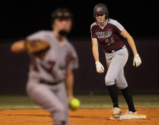 Chiles sophomore Ashlynn Pauwels prepares to jump off second base as Chiles won 6-1 against visiting Franklin County on Wednesday, April 10, 2019.