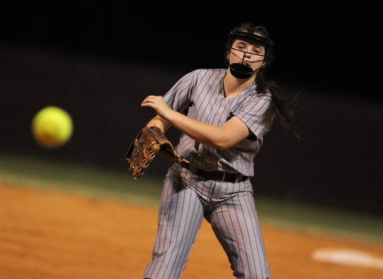 Franklin County freshman Sage Brannan pitches as Chiles won 6-1 against visiting Franklin County on Wednesday, April 10, 2019.